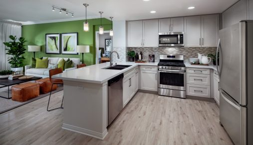 Interior view of kitchen at Serena at The Village at Irvine Spectrum Apartment Homes in Irvine, CA.