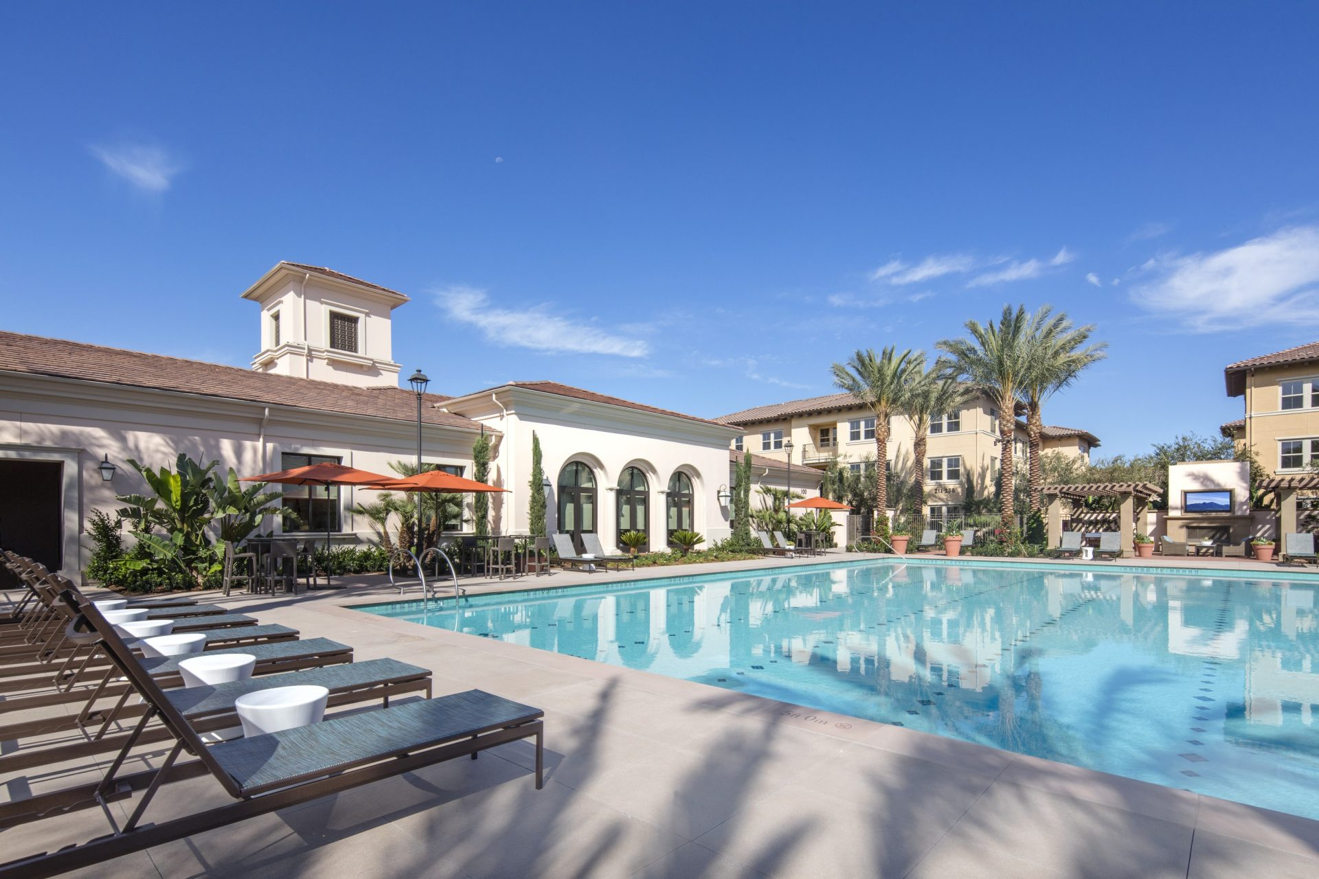 Pool view of Portola Court Apartment Homes in Irvine.