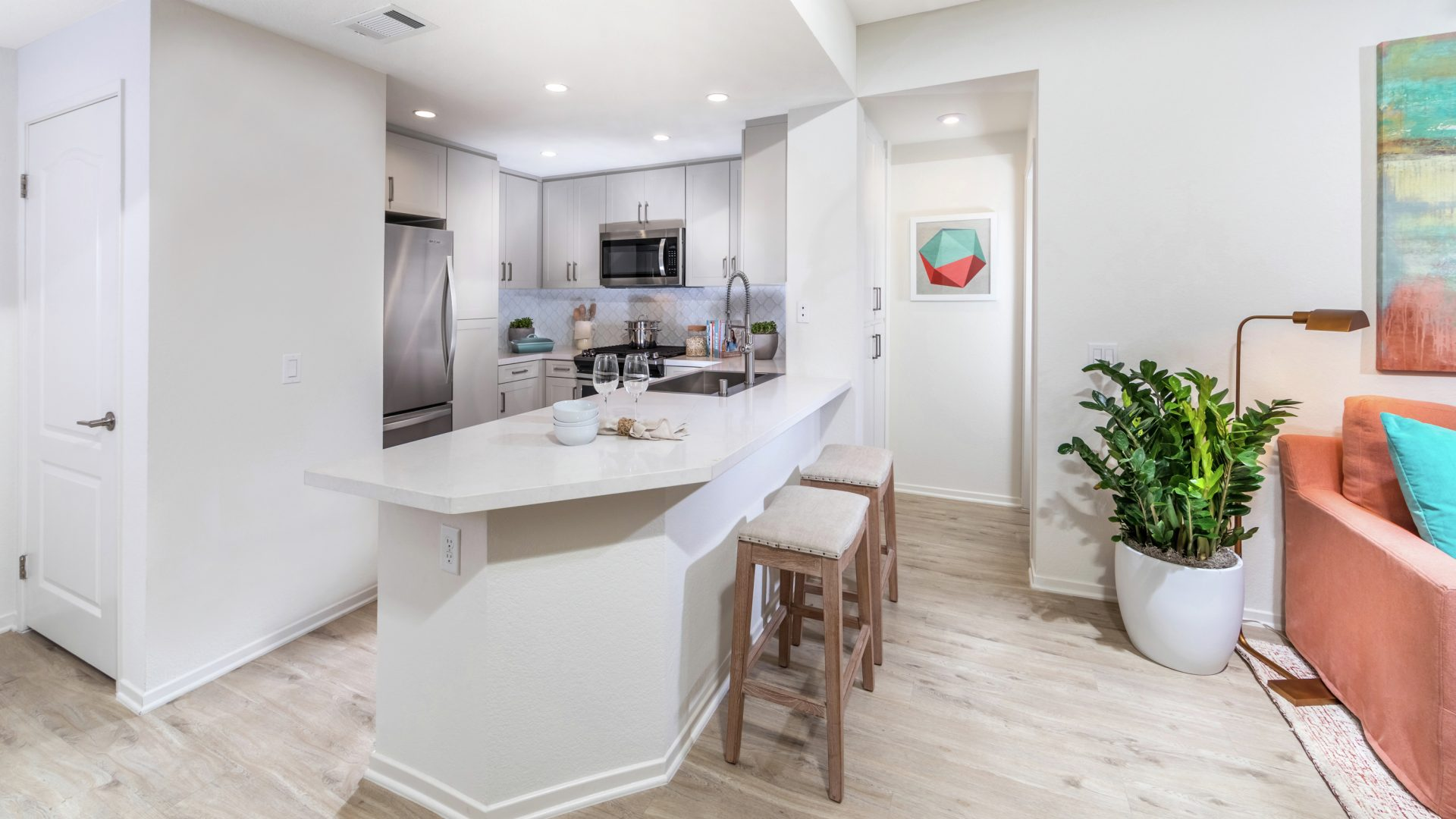 Interior view of kitchen at Newport Ridge Apartment Homes in Newport Beach, CA.