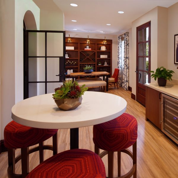 Interior view of kitchen at Woodbury Place Apartment Homes in Irvine, CA.